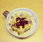 Cranberry and orange porridge with a stir of Demerara