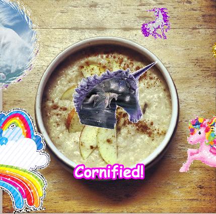 Porridge with unicorns and rainbows